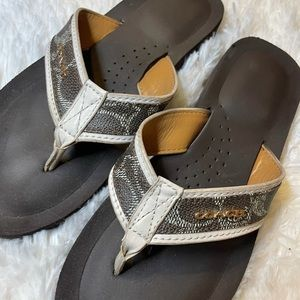 Coach Judy White & Brown Leather Flip Flops